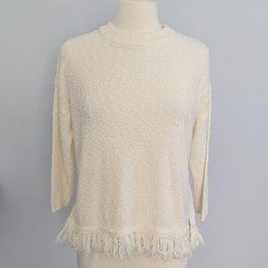 Ozco European Cream Fringe Popcorn Sweater Small